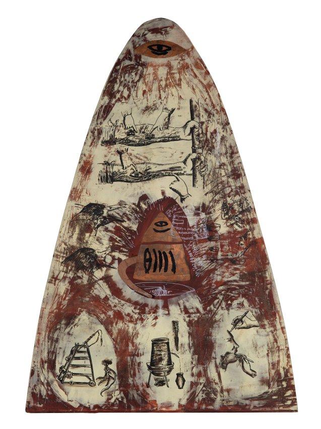 Coğrafya, 1993, kontrplak üzerine akrilik ve bakır, 220 x 155 cm, Sanatçı Koleksiyonu