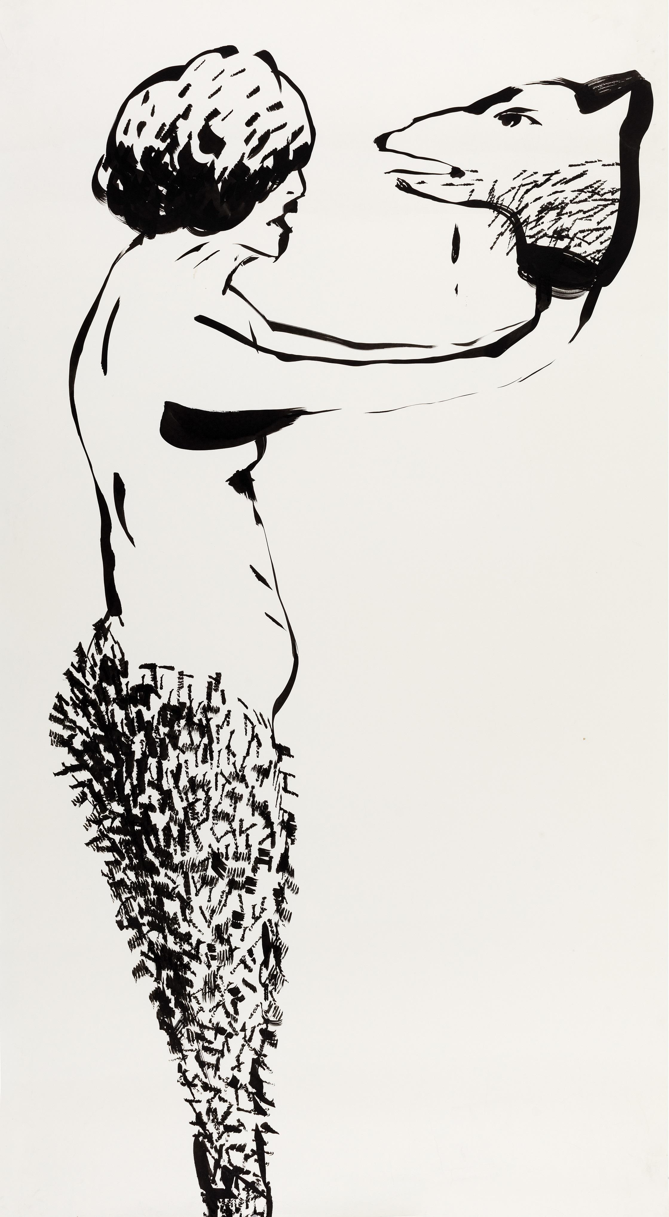 Meydan Okuma 2005 Kağıt üzerine mürekkep 168 x 92 cm Sanatçı Koleksiyonu