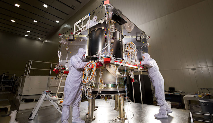 In a clean room at Lockheed Martin, the OSIRIS-REs spacecraft is starting the assembly (ATLO) phase of its mission.