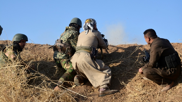 Peshmerga forces are seen in the east of Mosul to attack Islamic State militants in Mosul