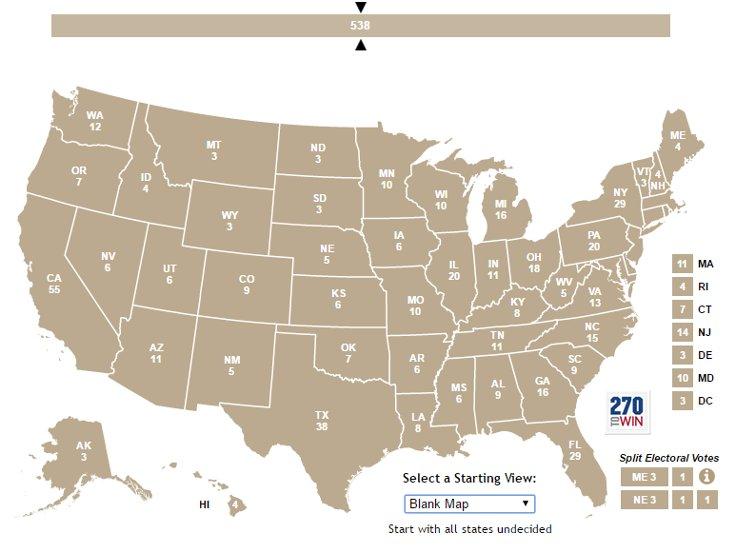 Delegelerin eyaletlere göre dağılımı. Kaynak: CNN International.