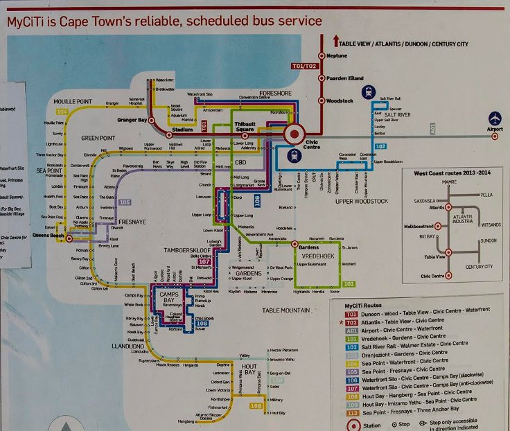 Cape Town içinde yolculuk etmenin en ucuz yolu My Citi kartı kullanmak. Her durakta hangi otobüse binmeniz gerektiğini gösteren haritalar var.