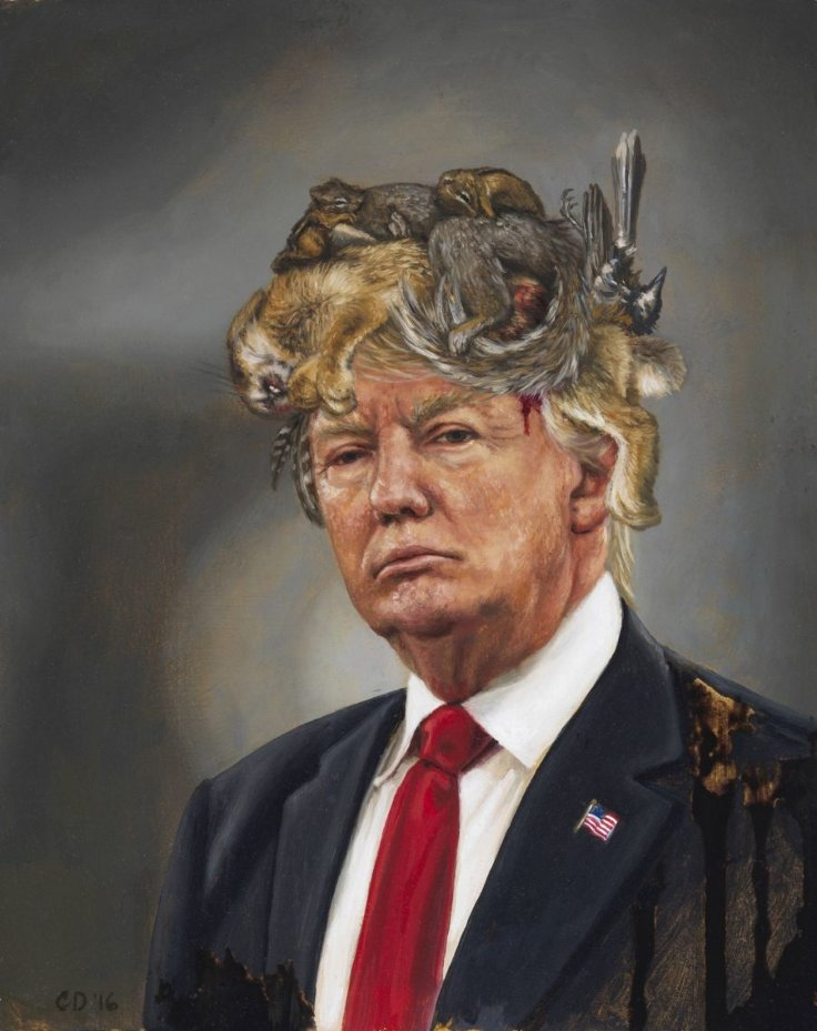 UPRISE / ANGRY WOMEN Exhibit artwork, The Untitled Space Gallery, New York - CARA DEANGELIS- Donald Trump with a Crown of Roadkill