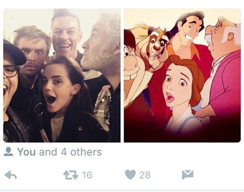 Bir sosyal medya kullanıcısının, film oyuncularının selfiesini, anime karakterlerle eşleştirdiği gönderisi.