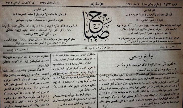 """""""14 Kanunuevvel 1015 tarihli Sabah gazetesi"""""""