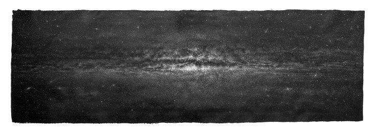 Yıldızlar, hint mürekkebi ile boyanmış kağıt üzerine kazıma ve çentik, 130 x 360cm, 2017