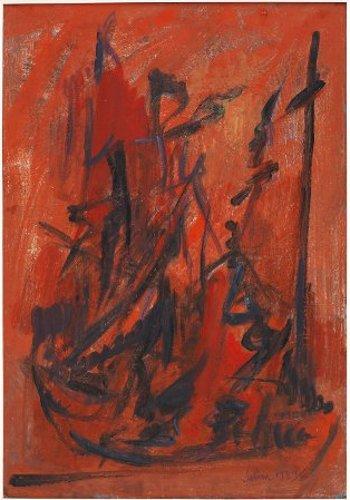 Selim Turan Kompozisyon, 1959,Kâğıt üzerine guvaş, yağlıboya, Env. no. 2003/2120, İstanbul Üniversitesi Selim Turan Koleksiyonu