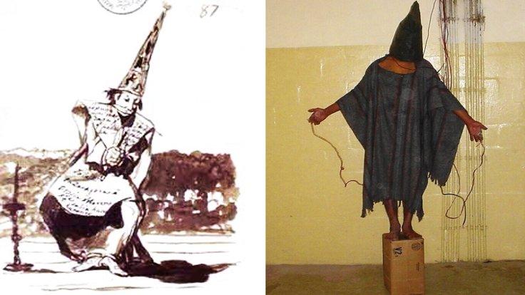 """Solda: Goya'nın engizisyon tasvirlerinden biri, 1810-14 Sağda: Ebu Garib'de """"Gilligan"""" olarak bilinen mahkum, 2004 (2)"""