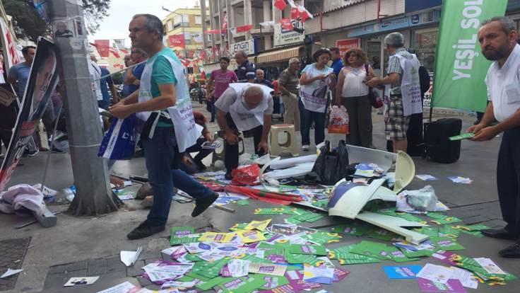 Yeşil Sol Parti standına saldırı